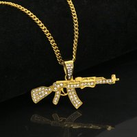 """Wholesale Mens Cross Necklace Silver - Mens 18k Gold Silver Plated Iced Cz Hip-Hop AK-47 Gun Pendant Necklace 3mm 24"""" long Cuban Chain Necklace Fashion Jewelry Christmas birthday"""