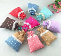 Wholesale Cheap Cotton Gift Bags - New Designs Cheap Lace splicing Jewelry Gift Bags Ethnic Small Drawstring Cotton Packaging Pouches 50pcs lot mix color Free shipping
