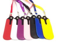 Wholesale Ego T Portable Lanyard Bags - PU Leather pouch colorful e cig battery ego t portable carrying bag necklace lanyard for ego-t e cigarette ego-c twist vision spinner ego-v