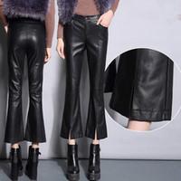 siyah alyans pantolon kadınlar toptan satış-2018 Moda Deri Pantolon Kadın Sonbahar Kış Yeni kadın Yüksek Bel Flare Pantolon Siyah Ince Ince Suni Deri Rahat Pantolon