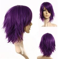 Wholesale Top Quality Costume Wig - 32 cm Harajuku Cosplay Wig Anime Costume Straight Short Straight Top Quality Synthetic Hair Purple Wigs Men Boys Peruca Peruke