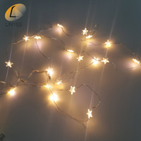 Led Energy Star online - Wholesale- 2M 20LEDs Five-pointed Star LED String Silver Wire Lights Waterproof Energy-saving Christmas Wedding Day Girl Room Decoration