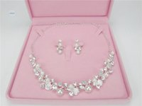 Wholesale Cheap Silver Rings Sale - Hot Sale Free Shipping In Stock Women Elegant Round pearl Rhinestone Bridal Necklace & Earrings Cheap Wedding Accessories Jewelry Set NE006
