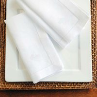 Wholesale Natural PolyCotton White Hemstitch Napkins CUSTOM MADE