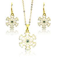 aretes de strass al por mayor-Nuevos sistemas de la joyería de moda chapado en oro Rhinestone del copo de nieve para las mujeres Pendientes de moda collar conjuntos regalo de la joyería