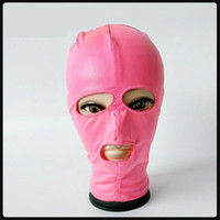 Wholesale Latex Sex Slave - 2017 New Pink Elastic Lycra Spandex Latex Coating Bondage Hood Headgear Face Mask Dog Slave Adult BDSM Product Bed Games Sex Flirting Toy