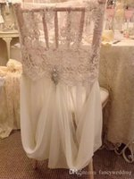 Wholesale Chair Classic - Custom Made 2017 Ivory Lace Chiffon Crystal Chair Covers Vintage Romantic Chair Sashes Beautiful Fashion Wedding Decorations