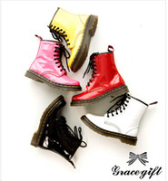 Wholesale Yellow Sexy Boots - Womens new sexy Patent Lace Up Military Flat Ankle Boots Shoes AU size 4-8