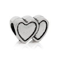 Wholesale Beads Hole 9mm - European Charm Beads Double Heart Antique Silver About 14mm x 9mm,Hole about:4.9mm,50PCs 2015 new