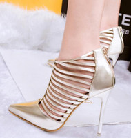Wholesale Silver Party Shoes - Luxury Party Shoes Multi Strap Silver Wedding Shoes Pointed High Heels Pumps 3 colors Size 34 to 39