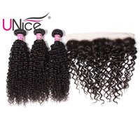 Wholesale unice hair for sale - UNice Hair Virgin Bundles With Frontal Brazilian Curly Wave Ear to Ear Hair Weaves With Curl Wave Lace Frontals Remy Human Hair