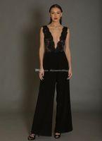 Wholesale Black Leather Jacket Size 12 - black jumpsuit evening dresses 2018 lace bodice pantsuit deep v neckline floor length party prom gowns