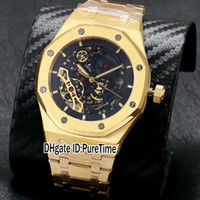 Wholesale 2892 Watch - High Quality New Royal Yellow Gold Case Gold Tourbillon Black Skeleton Dial ETA 2892 Automatic Mens Watch Gents Watches Steel Band A403P3