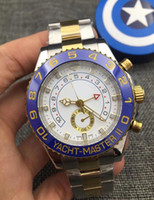 Wholesale Ii Tone - 2017 Luxury Brand watches 44 mm Yacht Master II 116681 Ceramic Bezel White Dial Automatic Mechanical Two Tone Gold Stainless Steel Men's Wa