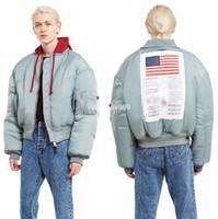 jaqueta de vôo alfa venda por atacado-Vetements Jacket Homens Mulheres de Alta Qualidade Bombardeiro MA-1 Alpha Industries Coat Flight Air Force Jaqueta Piloto Vetements Jacket