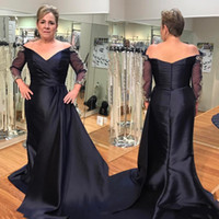 Wholesale Evening Dreses Sleeves - Plus Size Navy Blue Mother Of The Bride Dresses Off Shoulder 3 4 Sleeve Beaded Satin Long Women Formal Party Evening Dreses