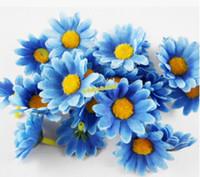 sarı çiçek başları toptan satış-Wholesale-100pcs / lot Renkli Yapay Gerbera Papatya Ipek Çiçekler DIY Düğün Parti Sarı Ayçiçeği Için Heads