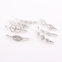Wholesale Tube Bar Crystals - New sideways crystal Rhinestone Curved bar tube beads connector charms DIY making bracelets 10pcs JJAL ZBE296