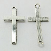 Wholesale Cross Pendant Connector - 200pcs -Jewelry Findings Antique Silver Alloy Cross Connector 15x37mm Metal Beads Pendant Charms Fit Bracelet DIY Craft DH-BJI808-69