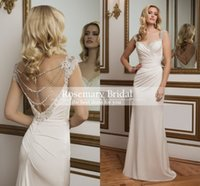 Wholesale Sexy Beaded Straight Wedding Gowns - 2016 New Hand beaded sweetheart neckline asymmetrically draped straight jersey wedding gown crystal pearl red carpet wedding bridal dresses