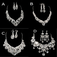 Wholesale Cheap Ladies Accessories - 2015 Cheap 4 Styles Necklace & Earrings Rhinestone Big Crystal Bridal Accessories Lady Jewelry Sets Shiny Party Prom Wedding Jewelry