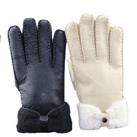 Wholesale Goat Fur Leather - Wholesale-Luxury Men's Genuine Leather Gloves Soft Nappa Gift Gants Homme Goat Fur Cuff Cashmere Lining