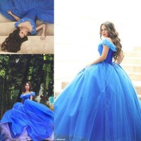 Wholesale Pink Cinderella Dress Plus Size - Said Mhamad 2015 Prom Dresses Blue Ball Gown Off Shoulder Puffy Sequins Tulle Sweep Train Formal Evening Gowns Cinderella Quinceanera Dress