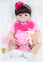 Wholesale dolls body resale online - 55cm Full Body Silicone Reborn Girl Baby Doll Toy Lifelike Pink Princess Dress Newborn Babies Doll Cute Birthday Gift Bathe Toy Accessories