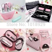 Wholesale Nail Lovely Kit - 5 Sets Lovely Christmas gift Nail scissors Vogue Nail Care Personal Manicure Pedicure Set, Travel Grooming Kit