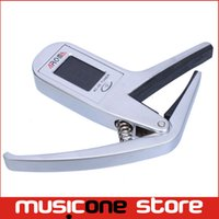 Wholesale Tuner For Guitar Free Shipping - Portable Aroma AC-05 Clip-on Guitar Tuner Capo 2-in-1 for Guitar Bass Chromatic Multifunction Universal Free shipping MU0204