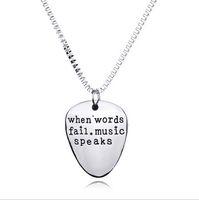 "Wholesale Friendship Words - ""when words fail music speaks"" Hot Unique Charming Letter Pendant Necklace Personalized Sister Lovers Friend Friendship Jewelry"