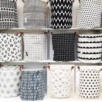 INS Storage Baskets Bins Kids Room Toys Bags Bucket Clothing Organizer Laundry Bag Canvas Bat Polka Dot SF186-ZWL
