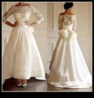 Wholesale Long Train Modern Wedding Dresses - 2015 Modern Wedding Dresses With Lace Long Sleeves Crew Bow A Line Sweep Train Fall Winter Spring Bride Bridal Gowns Robe de soiree