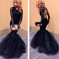 Wholesale Tight Long Backless Prom Dresses - Hot Sale 2018 Black Mermaid Evening Dresses with Long Lace Sleeves Jewel Neck Tight Fishtail Sexy Back Prom Party Gown Vestidos BA2234