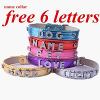 Wholesale Diy Leather Dog Harness - DIY Design Name Collars For Dogs FREE 6 LETTERS Fashion Colorful Flashing Leather Dog Collar Customized Pet Supplies
