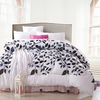 Wholesale Comforter Blanket Duvet Quilt - Wholesale-1 Pcs Reactive printing comforter bedding king queen size,quilting duvet quilts blanket,Winter White leaves bedclothes &45