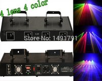 Wholesale Tunnel Laser Beam - Wholesale-professional 800mW RGYB 4 Lens Four Tunnel Head DMX Beam DJ Party Disco Club Bar Stage Laser Lighting dj equipment