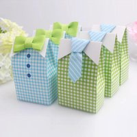 Wholesale big candy boxes - 50pcs Tie Boy Candy Boxes Green or Blue Gird Gift Box Baby shower Big Box New