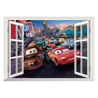Wholesale Sticker Light For Car Window - Movie Cars Wall Stickers Kids Bed Play Room Decoration DIY 3D Cartoon Film Fantastic Window Home Decal Nursery Kids Mural Art