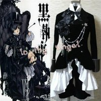 Wholesale Butler Outfit - Hot Selling Anime Black Butler Ciel Phantomhive Black Suit Outfit Cosplay Costume Customized Size Free Shipping