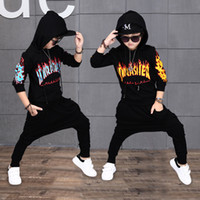 Wholesale Hip Hop Suits Girls - Hip-hop High quality 2017 autumn winter fashion Hoodies+pants children set kid suit girl boy clothing set for 4-14 years