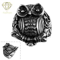 Wholesale Black Costume Jewelry Rings - Vintage Big Owl 316L Stainless Steel Ring Fashion Animal Punk Costume Jewelry Black Bird Night Owls Rings Creative Gifts