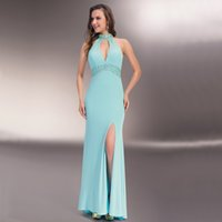 Hohle High Neck Prom Kleider Luxus Kristall 2015 Abendkleider Tragen Sexy Criss Cross Backless Meerjungfrau Side Split Mermaid Prom Kleider