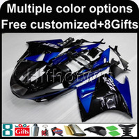 Wholesale 1992 Zx11 Black - 23colors+8Gifts BLUE BLACK motorcycle cowl for Kawasaki ZX11R ZZR1100 90-92 90 91 92 ZZR1100 1990 1991 1992 ABS Plastic Fairing