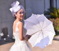 ingrosso ombrelli da sole-New Wedding Lace Bridal Parasols White Ivory Sun Ombrelli Fotografia puntelli Beautiful Bridal Accessories Wedding Favors di alta qualità Migliore