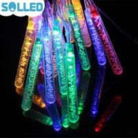 Al por mayor-SOLLED 5M 20 LED Solar Powered Fairy String Bubble Light al aire libre boda fiesta de Navidad lámpara