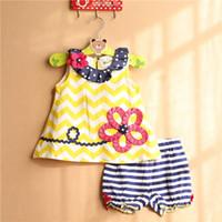 Wholesale Rare Editions - Rare editions Little Girl Summer Polkar dot neckline Chevron flower Dress & striped shorts rty set Rufflle pants 2 Piece set