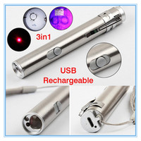 3 in1 500LM Mini Liga de alumínio USB recarregável LED Laser UV Torch Pen Lanterna Multifunction Lamp --M25