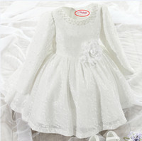Wholesale Tutu Promotion - 2016 Promotion Regular Bow Kids Dresses For Girls Korean Hot Girl's Clothes And Long Sleeved Dress Princess Flower Girl Tutu On