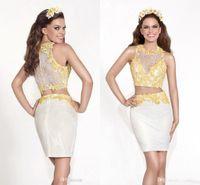 Wholesale Ediz Dresses - Two Pieces Tarik Ediz Spring Cocktail Dresses 2017 High Collar Short Prom Dress Embroidery Sleeveless Covered Button Homecoming Dress